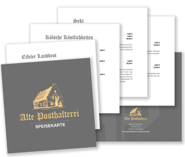 Speisekarte der ALten Posthaltere Euskirchen